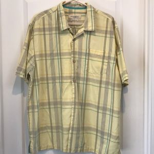 Tommy Bahama short sleeve yellow plaid button down